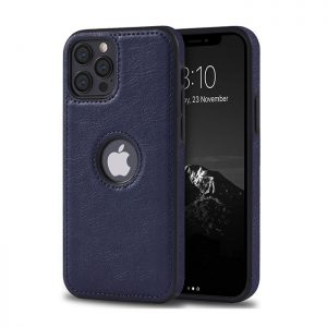 کاور چرمی گوشی اپل iphone 12 Pro Max سورمه ای